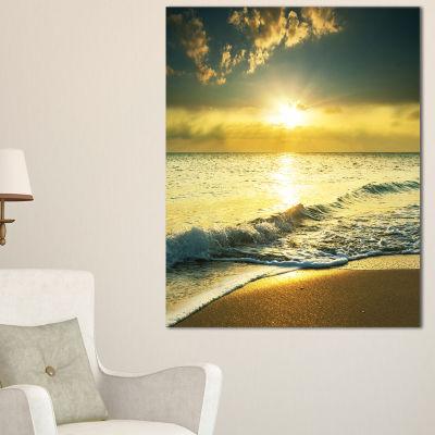 Designart Yellow Sunlight Over Crystal Waters Canvas Art