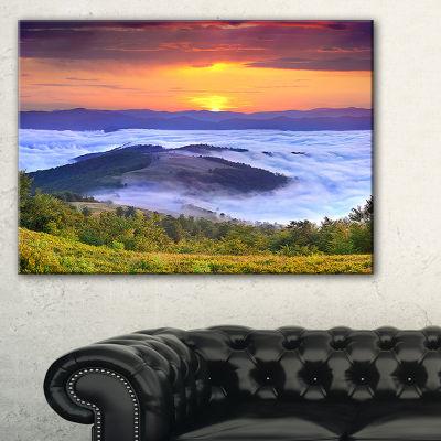 Designart Yellow Sunrise Over Blue Waters Canvas Art