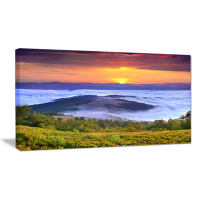 Designart Yellow Sunrise Over Blue Waters Canvas Art