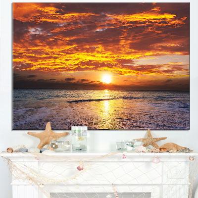 Designart Yellow Sunset Above Foaming Waves Canvas Art