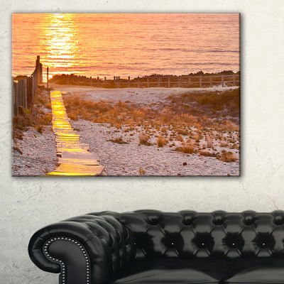 Designart Yellowish Boardwalk Into Seashore Canvas Art