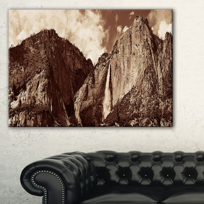 Designart Yosemite Waterfall Panorama Canvas Art