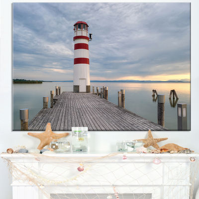 Designart Lighthouse At Lake Neusiedl At Sunset Canvas Art