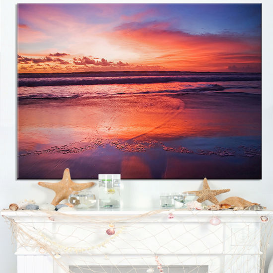 Designart Colorful Tropical Beach With Clouds Canvas Art