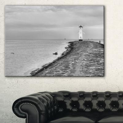 Designart Lighthouse Windmill Stawa Mlyny In Grey Canvas Art