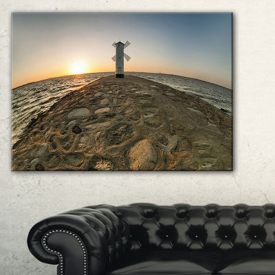 Designart Lighthouse Windmill Stawa Mlyny Canvas Art