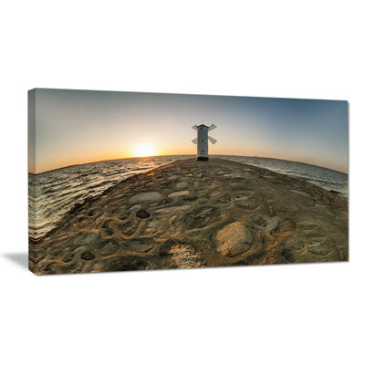 Designart Lighthouse Windmill Stawa Mlyny Canvas Art