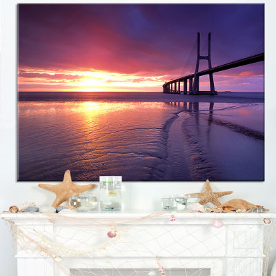 Designart Colorful Vasco Da Gama Bridge Canvas Art