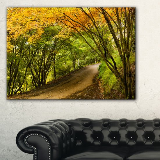 Designart Country Lane In Green Forest Canvas Art