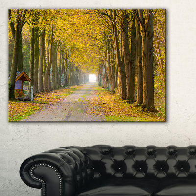 Designart Country Road Below Yellow Trees 3-pc. Canvas Art