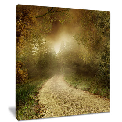 Designart Country Road Through Fall Scenery Canvas Art