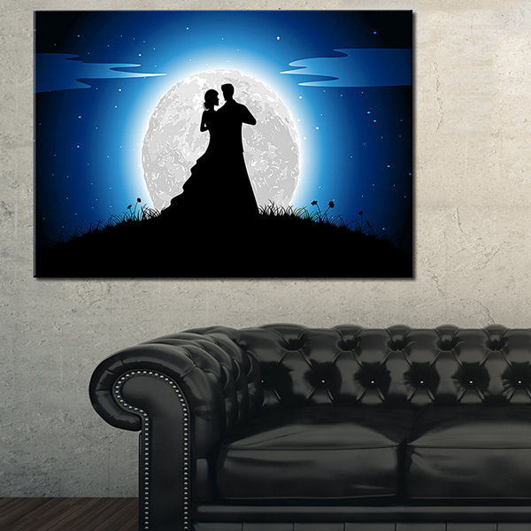 Designart Couple Embrace In Night Canvas Art