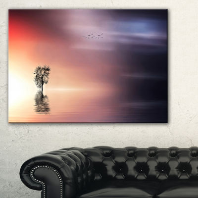 Designart Lonely Tree And Birds Panorama Canvas Art