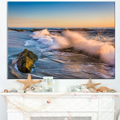 Designart Crashing Waves At Victoria Beach Canvas Art