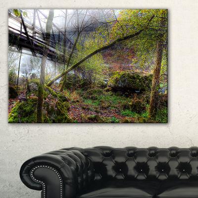 Designart Creek And Bridge With Sunbeams Canvas Art