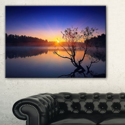 Designart Lonely Tree In Pond In Blue Canvas Art
