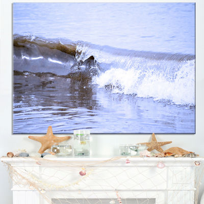 Designart Crisp Blue Waves Splashing Beach Canvas Art