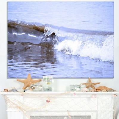 Designart Crisp Blue Waves Splashing Beach Canvas Art