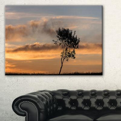 Designart Lonely Tree Silhouette Rightwards Canvas Art