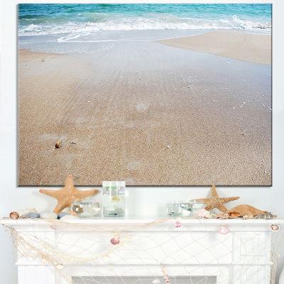 Designart Crystal Clear Sea Waves On Beach Canvas Art