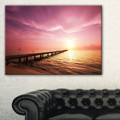 Designart Long Boardwalk Into Sunset Sea Canvas Art