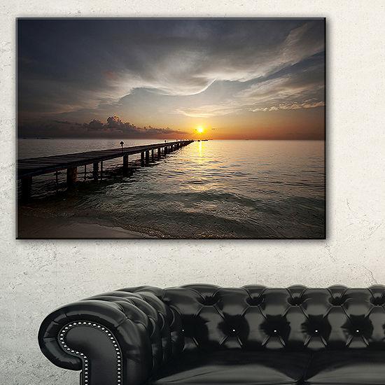 Designart Long Boardwalk Into The Sunset Sea Canvas Art
