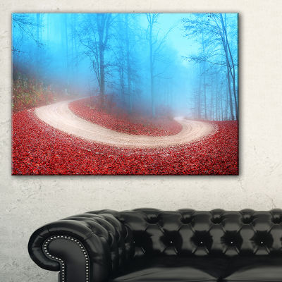 Designart Curved Road In Autumn Forest 3-pc. Canvas Art