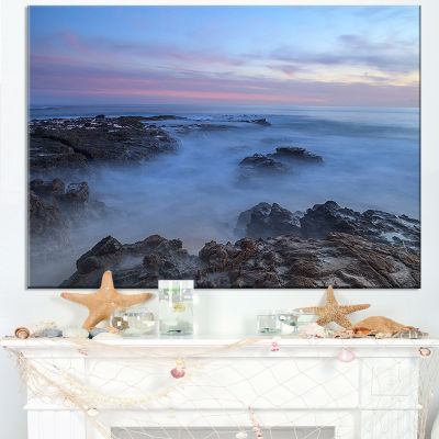 Designart Long Exposure At Sunset Over Rocks Canvas Art