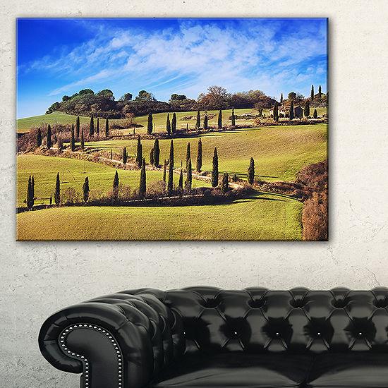 Designart Cypress Trees Scenic Road Siena Italy Canvas Art