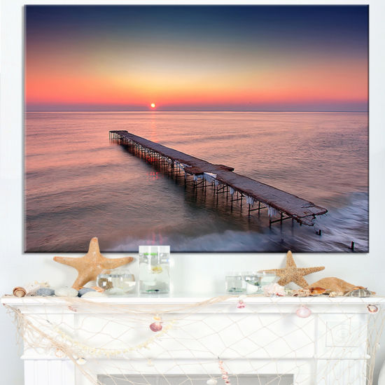 Designart Long Exposure Sea And Shore Canvas Art
