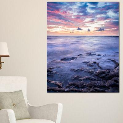 Designart Long Exposure Twilight Sea Rocks Canvas Art