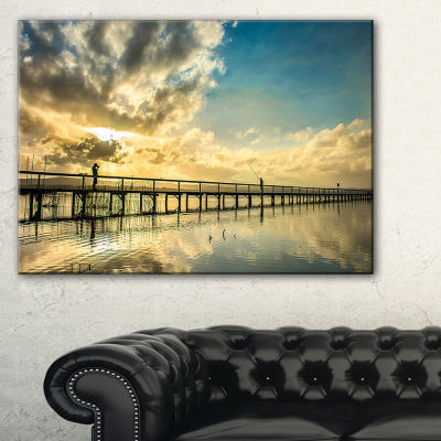 Designart Long Jetty Foreshore Reserve With Clouds Canvas Art