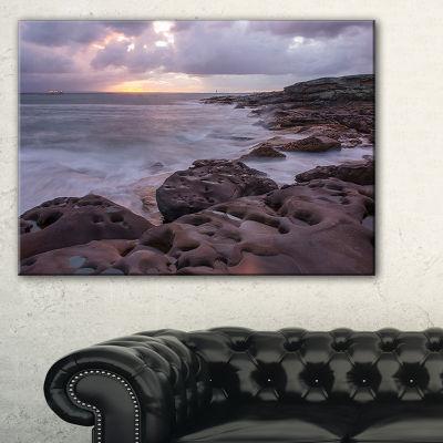 Designart Dark Australian Seashore With Large Rocks Canvas Art