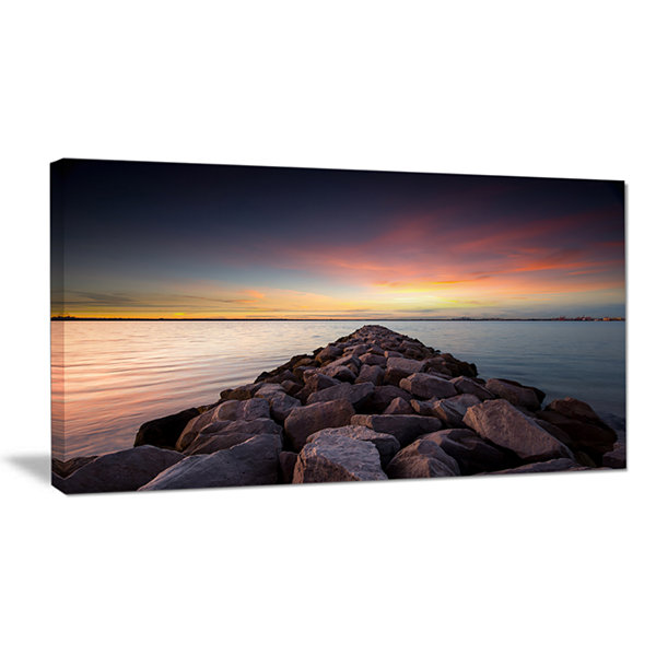 Designart Long Stone Bridge Into Beautiful Sea Canvas Art