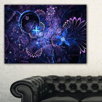 Designart Dark Blue And Pink Fractal Flowers Canvas Art