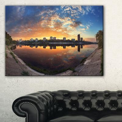 Designart Long Summer Sunset In Yellow 3-pc. Canvas Art