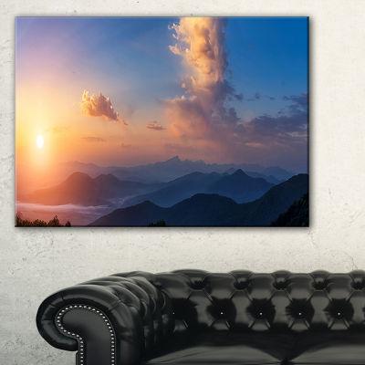 Designart Dark Cloudy Sky Above Mountains Canvas Art