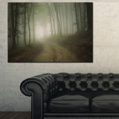 Designart Dark Fall Forest Road In Morning Canvas Art