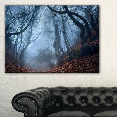 Designart Dark Foggy Fall Forest In Crimea 3-pc. Canvas Art