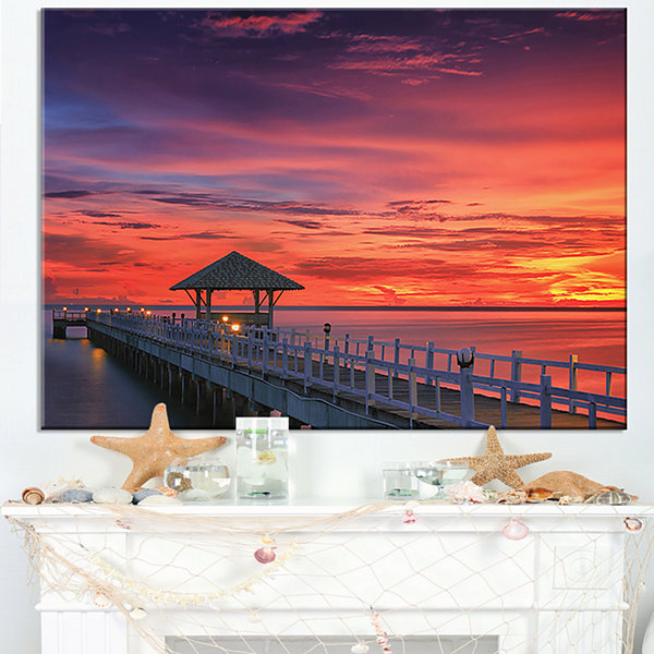 Designart Long Wooden Bridge And Colorful Sky Canvas Art