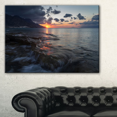 Designart Dark Mediterranean Beach Dawn Canvas Art
