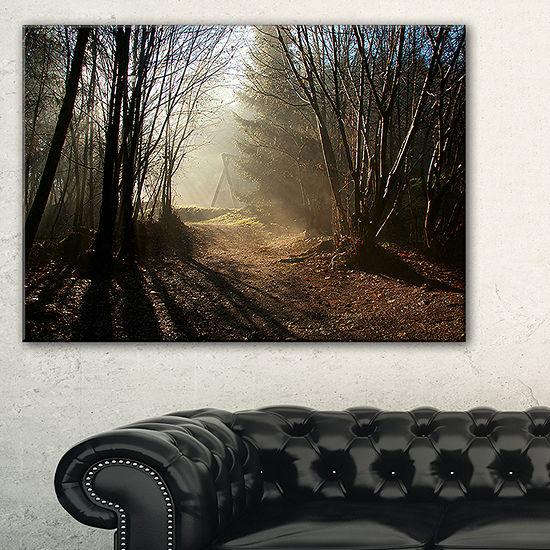 Designart Dark Path In Fall Foggy Forest Canvas Art