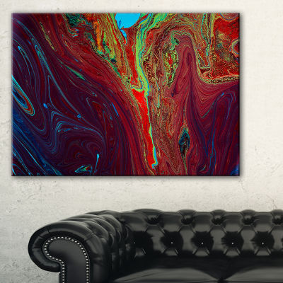 Designart Dark Red Abstract Acrylic Paint Mix Canvas Art