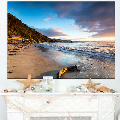 Designart Looe Cornwall Beach At Sunrise Canvas Art