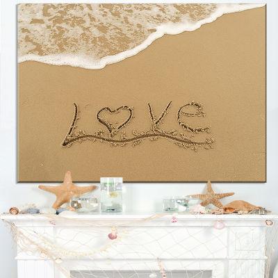Designart Love Written On Sandy Seashore Canvas Art