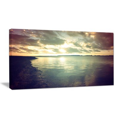Designart Dark Seascape With Cloudy Sky Canvas Art