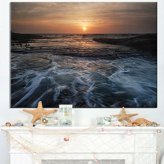 Designart Dark Seashore With Rushing Waves Canvas Art