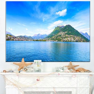 Designart Lugano Lake Ticino Panorama Canvas Art