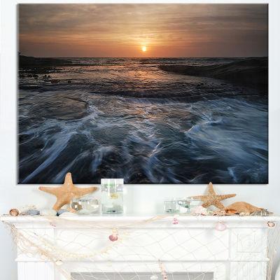 Designart Dark Seashore With Rushing Waves Canvas Art
