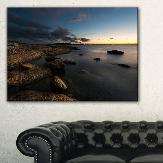 Designart Dark Sydney Coastline Canvas Art